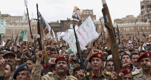 sanaa yemen rebels rally